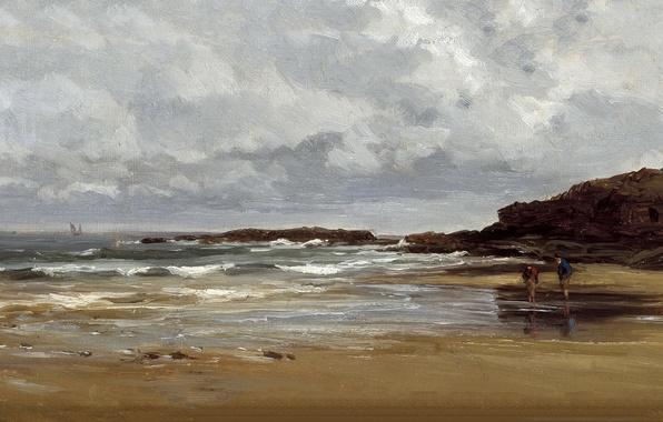 Картинка люди, скалы, берег, картина, морской пейзаж, Карлос де Хаэс, Пляж в Карраспио