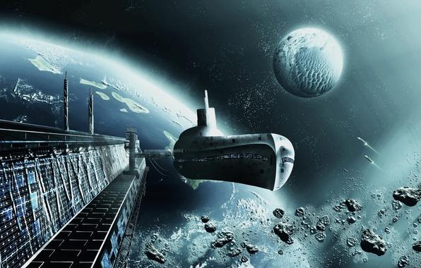 Картинка космос, корабль, планета, орбита, space, ship, spaceport