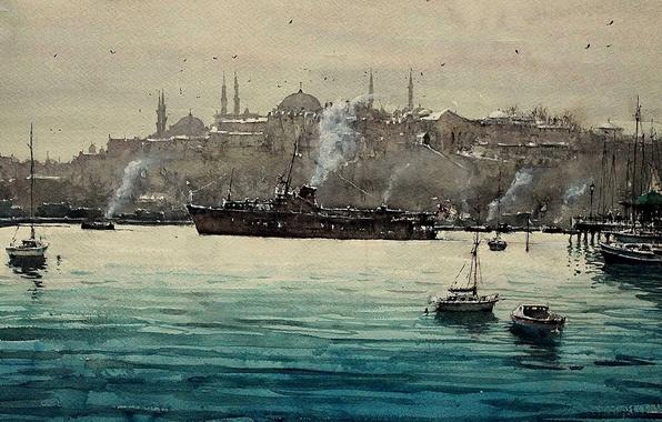 Картинка пролив, лодка, корабль, картина, акварель, Стамбул, городской пейзаж, Босфор, Максимилиан Дамико