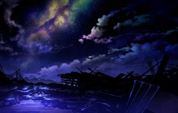 Картинка небо, звезды, облака, свет, ночь, арт, technoheart