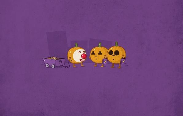 Картинка праздник, тачка, конфеты, тыквы, Halloween, Хэллоуин, рожица
