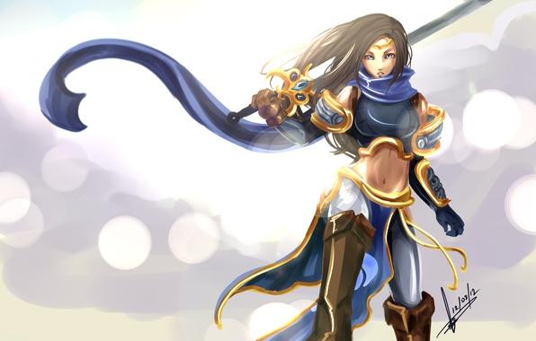 Картинка девушка, меч, доспехи, League of Legends, фанарт, LoL, Garena