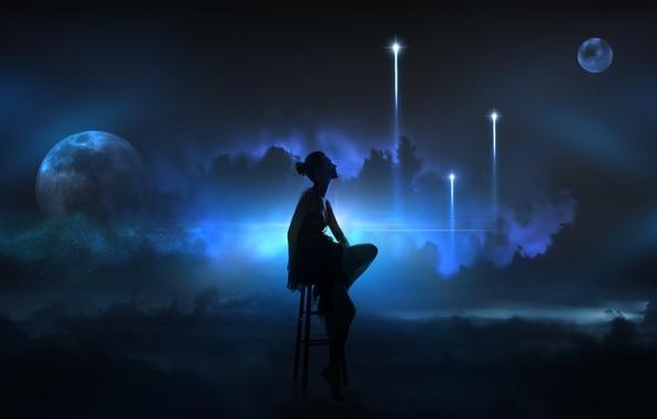 Картинка девушка, космос, лучи, свет, туманность, огни, пространство, сияние, фантазия, фантастика, планеты, атмосфера, бездна, воображение, грёзы