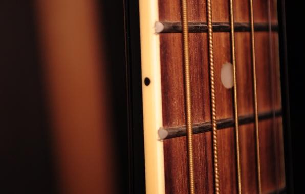 Картинка макро, музыка, гитара, струны, гриф
