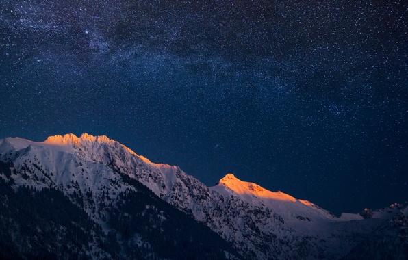 Картинка небо, звезды, горы, вечер, Германия, Бавария, Альпы, сумерки, Млечный Путь