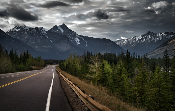 Картинка дорога, лес, деревья, природа, гора, Канада