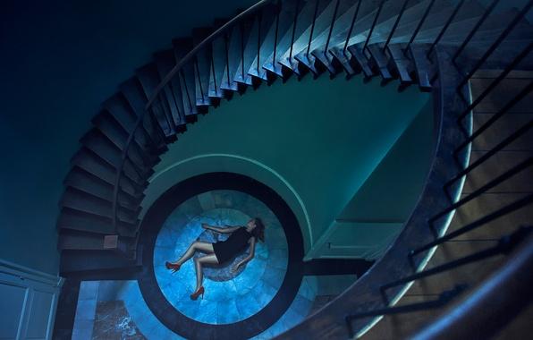 Картинка девушка, платье, лестница, туфли