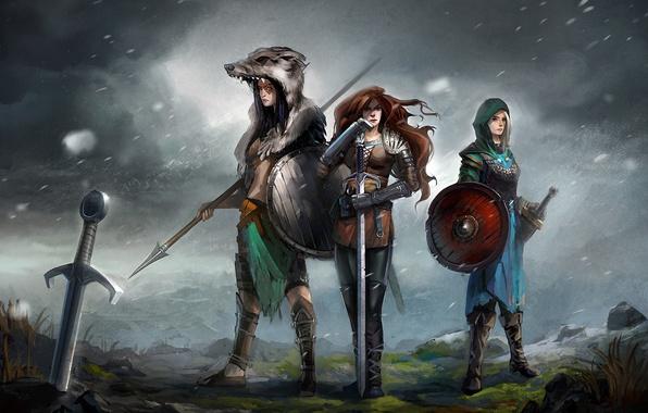 Картинка оружие, девушки, ветер, меч, арт, шкура, копье, щит, воительницы, доспех, валькирии
