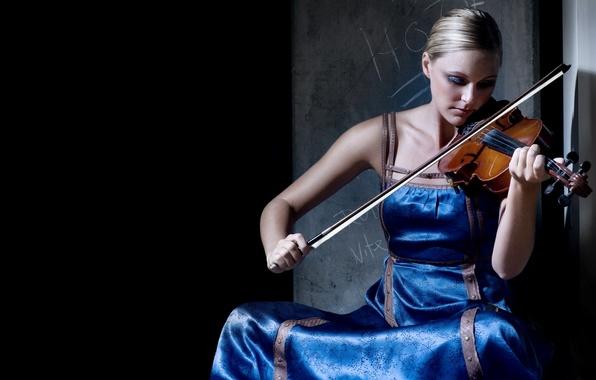 Картинка девушка, музыка, скрипка