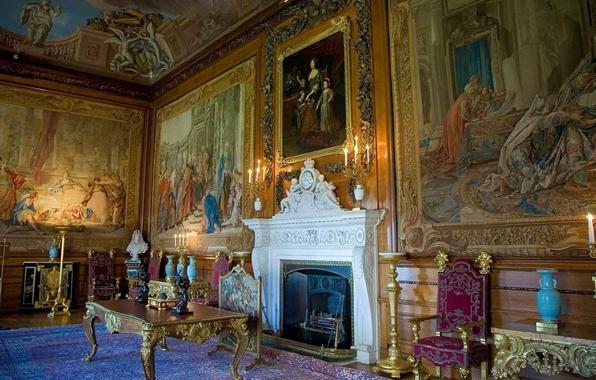 Картинка стол, часы, картина, кресло, ваза, камин, музей, роспись