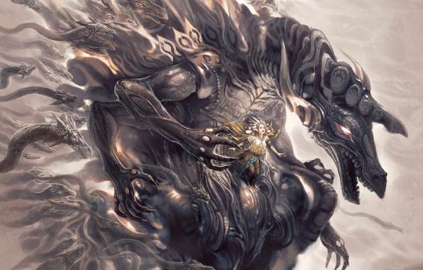 Картинка змеи, девушка, дракон, монстр, 156