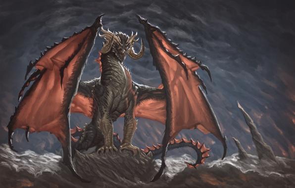 Картинка взгляд, фантастика, дракон, крылья, арт, когти, рога, пещера