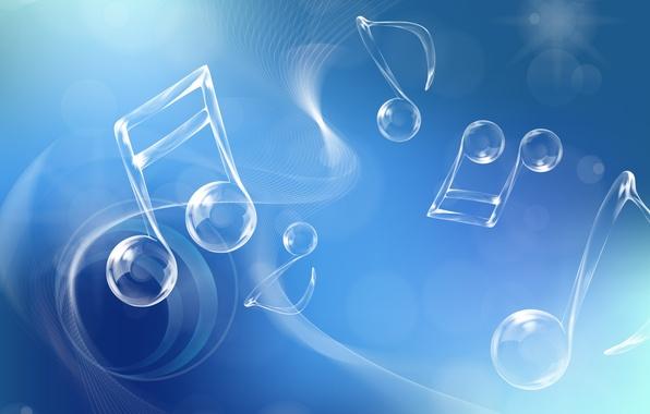 Картинка ноты, настроение, голубой
