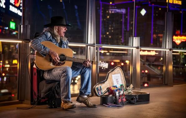 Картинка guitar, man, Vegas, street performer