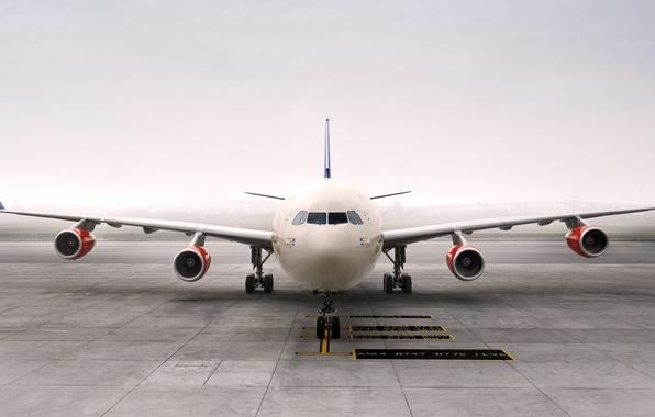 Картинка Туман, Самолет, Крылья, Авиация, Пассажирский, Airbus, Передок, Авиалайнер, A340, Турбины