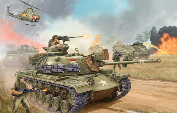 Картинка война, пушки, арт, танк, США, сражение, the, марка, средний, калибр, Flames of War, miniatures, 1950-хг, …