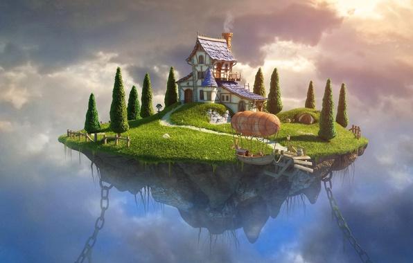 Картинка небо, трава, облака, деревья, пейзаж, дом, лодка, графика, арт, цепи