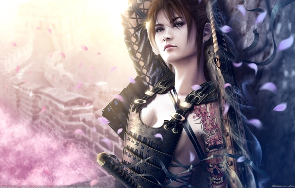 Картинка девушка, свет, оружие, стена, дома, меч, катана, лепестки, сакура, тату, арт, лента, азиатка, доспех, mario …