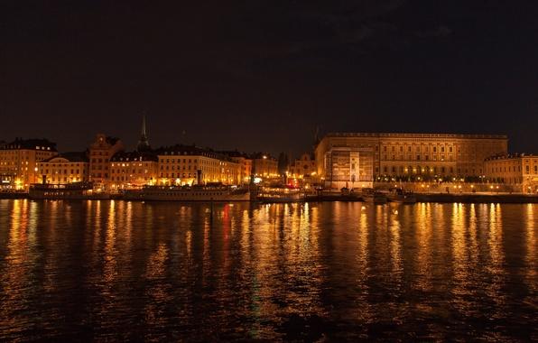 Картинка ночь, lights, огни, фон, widescreen, обои, wallpaper, Стокгольм, набережная, широкоформатные, night, background, полноэкранные, HD wallpapers, …
