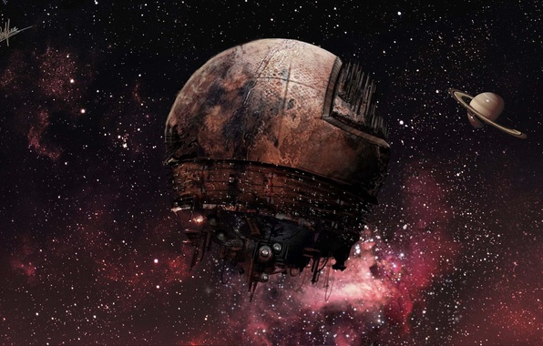 Картинка космос, звезды, туманность, корабль, планета, кольца, арт, AmarDjouad Djouad