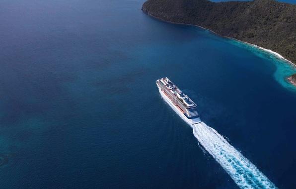 Картинка Вода, Море, Лайнер, Судно, Вид сверху, На ходу, Celebrity Equinox, Пассажирский лайнер
