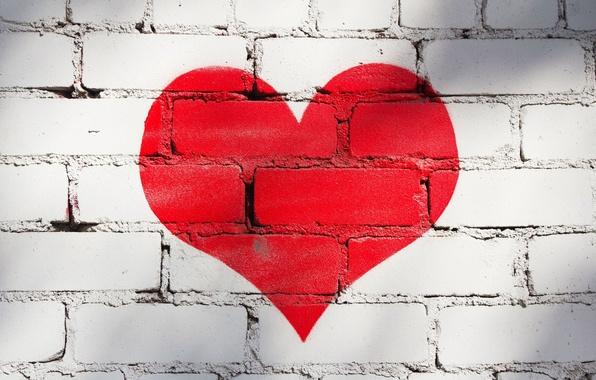 Картинка любовь, красный, фон, стена, обои, настроения, сердце, краска, wallpaper, кирпичи, сердечко, широкоформатные, background, стенка, полноэкранные, …