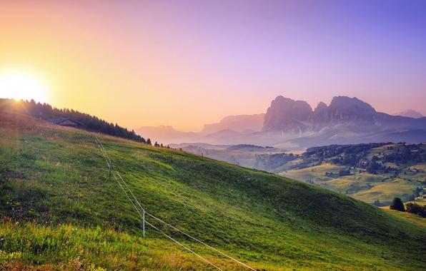 Картинка поле, лето, пейзаж, закат, забор