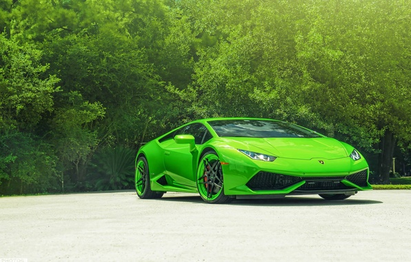 Картинка Lamborghini, Green, Front, Color, Supercar, Wheels, ADV.1, Huracan, LP610-4