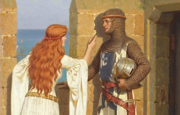Картинка любовь, замок, стена, рисунок, картина, доспехи, Тень, wall, love, крепость, рыцарь, armor, дева, castle, Middle …