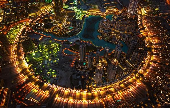 Картинка город, огни, вечер, Дубай, Dubai, ОАЭ, башня Бурдж-Халифа