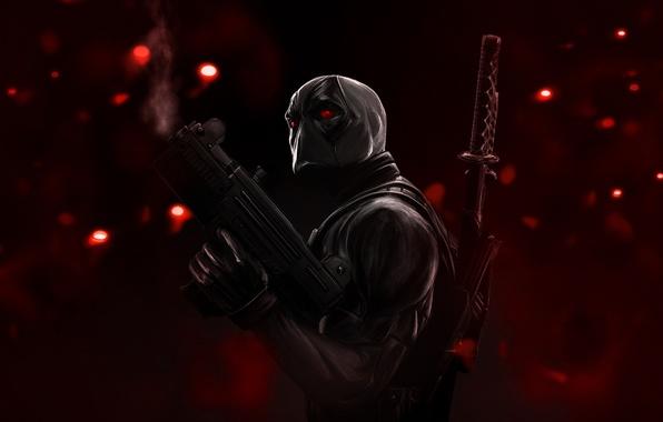 Картинка блики, оружие, катана, маска, красные глаза, красный фон, Deadpool