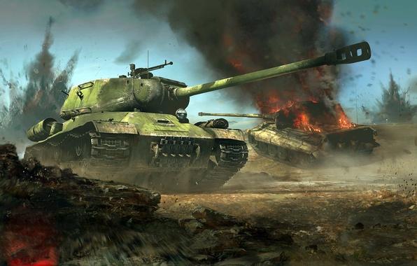 Картинка бой, ИС-2, Königstiger, Тигр II, Короле́вский тигр, советский тяжёлый танк, немецкий тяжёлый танк, war thunder, …