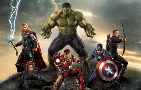 Картинка Scarlett Johansson, Girl, Heroes, Hulk, Lightning, the, Iron Man, The, Wallpaper, Guns, Captain America, Super, …