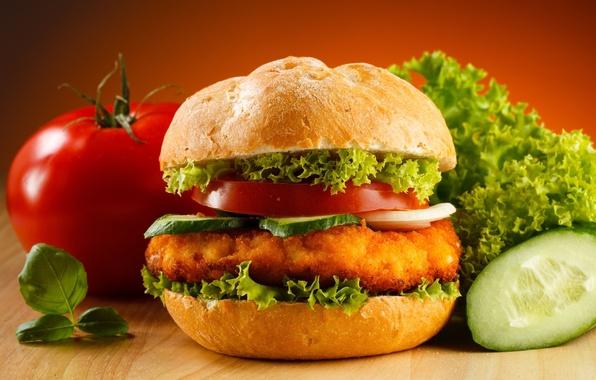 Фото обои бутерброд, еда, помидор, гамбургер, котлета, огурец, салат