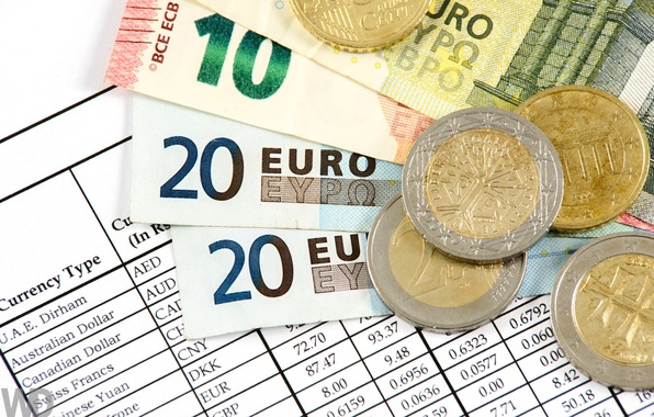 Картинка макро, деньги, евро, монеты, купюры