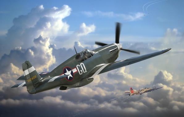 Картинка самолет, Mustang, истребитель, арт, США, сражение, P-51, действия, американский, ВВС, North American, WW2., одноместный, дальнего, …