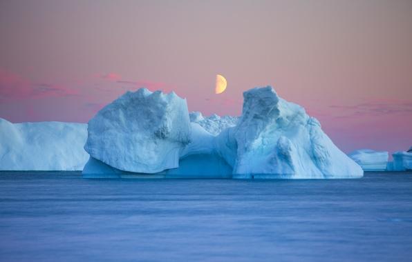Картинка moon, twilight, sea, evening, dusk, iceberg