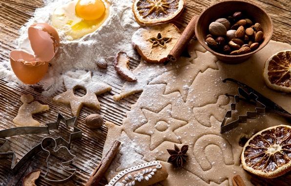 Картинка яблоки, яйцо, апельсины, Новый Год, печенье, Рождество, орехи, корица, Christmas, десерт, выпечка, миндаль, New Year, …