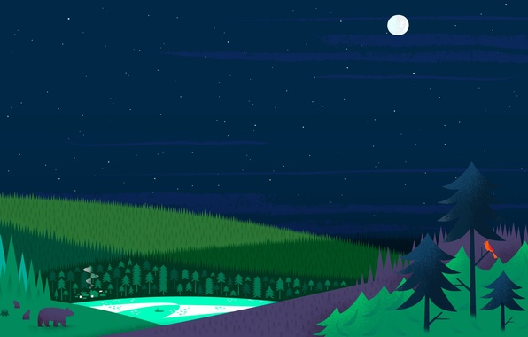 Картинка лес, озеро, луна, елки, дома, Звезды, медведи, google now