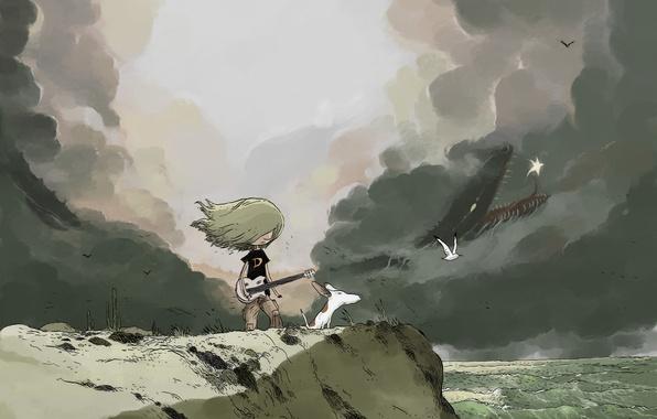 Картинка море, девушка, облака, птицы, обрыв, ветер, гитара, собака, арт, нарисованный пейзаж