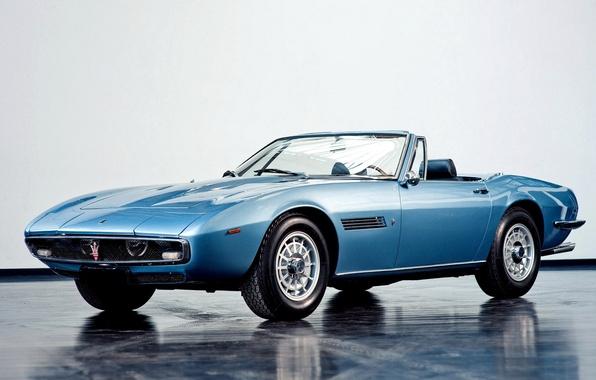 Картинка Машина, 1969, Мазерати, Car, Автомобиль, Blue, Spyder, Wallpapers, Красивая, Обоя, Maserati Ghibli