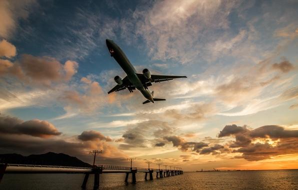Картинка закат, река, самолёт