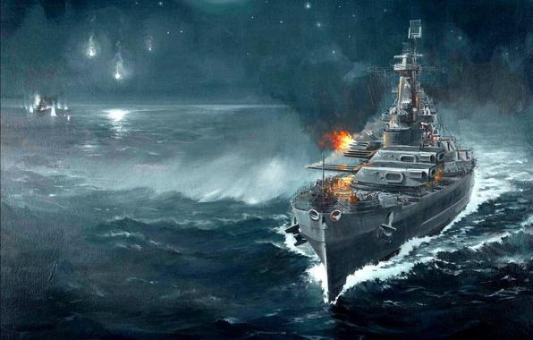 Картинка ночь, рисунок, арт, крейсер, японский, морской бой, WW2, линейный, Гуадалканал, артиллерийская дуэль, 14 ноября 1942 ...