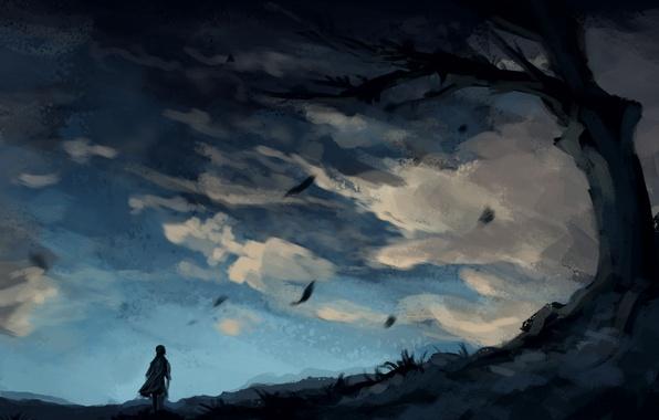 Картинка небо, облака, дерево, ветер, человек, арт