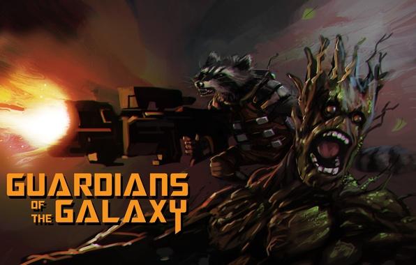 Картинка Rocket, raccoon, Guardians of the Galaxy, Groot