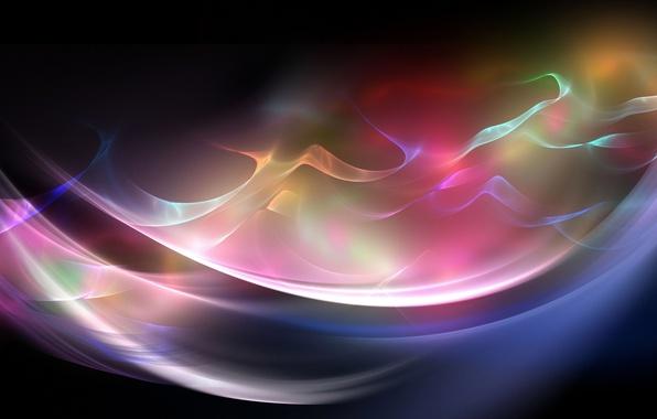 Картинка свет, линии, краски, волна, дуга, фрактал
