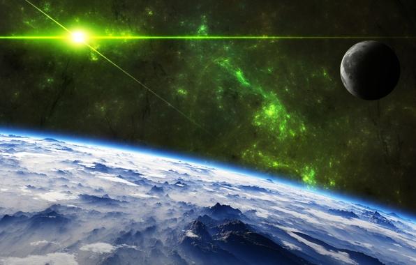 Картинка звезды, облака, поверхность, свет, горы, луна, планета, nebula