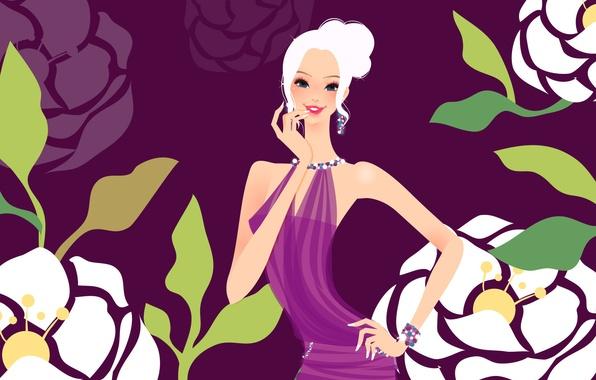 Картинка девушка, украшения, цветы, улыбка, фон, рисунок