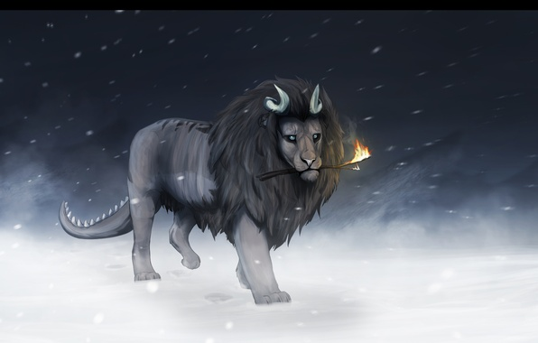 Картинка холод, зима, снег, фантастика, огонь, животное, лев, грива, хвост, рога, палка