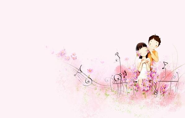 Картинка любовь, ноты, музыка, настроение, арт, дружба, девочка, парень, двое